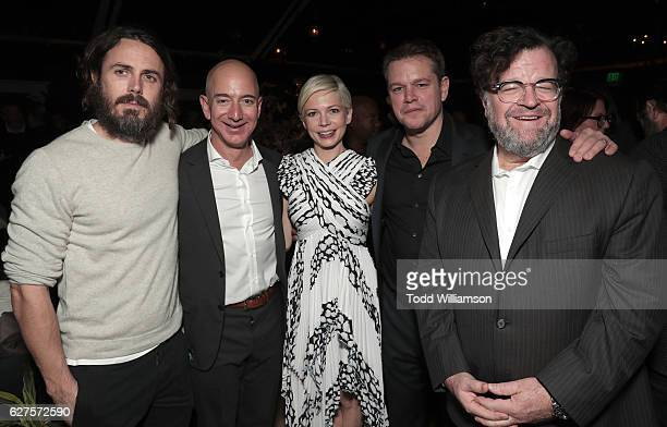 Casey Affleck Amazon CEO Jeff Bezos MIchelle Williams Matt Damon and Kenneth Lonergan attend Jeff Bezos and Matt Damon's 'Manchester By The Sea'...