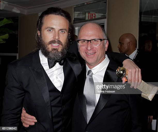 Casey Affleck and Bob Berney attend Amazon Studios Golden Globes Party at The Beverly Hilton Hotel on January 8 2017 in Beverly Hills California