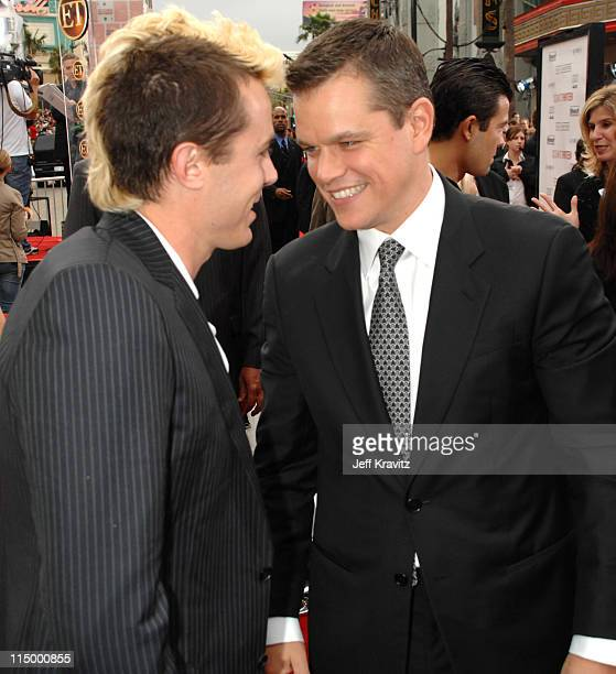 Casey Affleck and Matt Damon during 'Ocean's Thirteen' Los Angeles Premiere Red Carpet at Grauman's Chinese Theater in Hollywood California United...