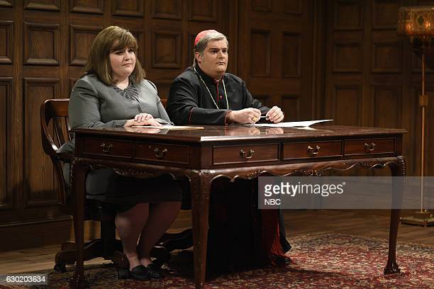 LIVE 'Casey Affleck' Episode 1714 Pictured Aidy Bryant as Dr Bethel and Bobby Moynihan as Cardinal Hansen during the 'Christmas Miracle' sketch on...
