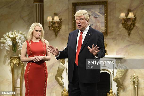 LIVE 'Casey Affleck' Episode 1714 Pictured Kate McKinnon as Kellyanne Conway and Alec Baldwin as Donald Trump during the 'Donald Trump Christmas Cold...