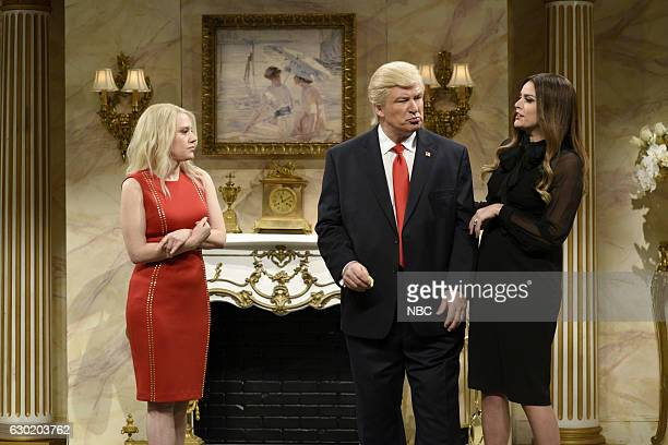 LIVE 'Casey Affleck' Episode 1714 Pictured Kate McKinnon as Kellyanne Conway Alec Baldwin as Donald Trump and Cecily Strong as Melania Trump during...