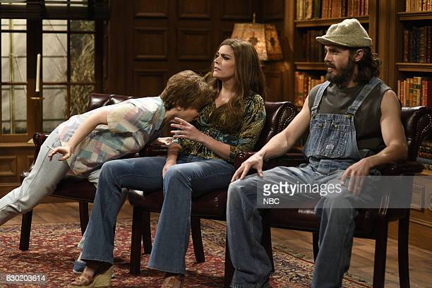LIVE 'Casey Affleck' Episode 1714 Pictured Kate McKinnon as Ms Rafferty Cecily Strong as Sharon and Casey Affleck as Doug during the 'Christmas...