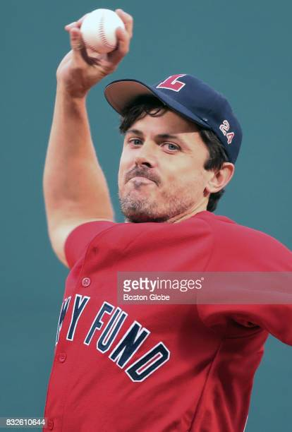 Casey Affleck throws out the ceremonial first pitch before the game as part of the 16th Annual WEEiNESN Jimmy Fund RadioTelethon The Boston Red Sox...