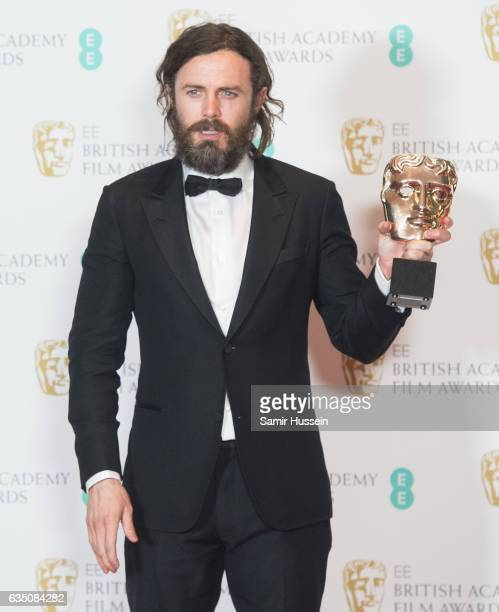 Casey Affleck winner of Best Actor award poses in the winners room at the 70th EE British Academy Film Awards at Royal Albert Hall on February 12...