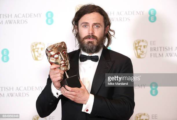 Casey Affleck with his Best Actor award for 'Manchester by the Sea' in the winners room at the 70th EE British Academy Film Awards at Royal Albert...