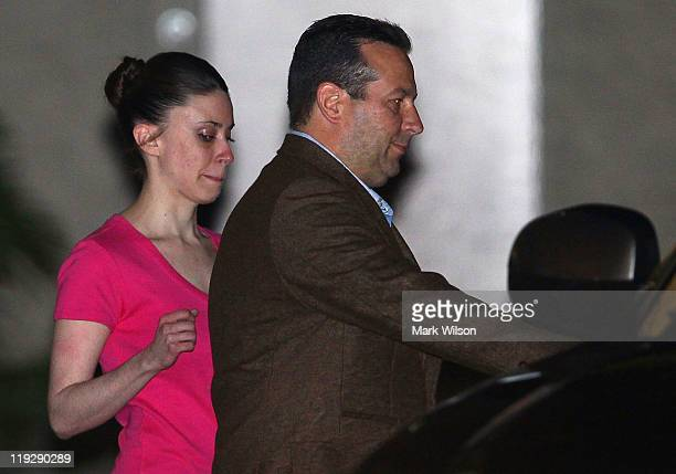 Casey Anthony and her defense attorney Jose Baez leave the Booking and Release Center at the Orange County Jail after she was acquitted of murdering...
