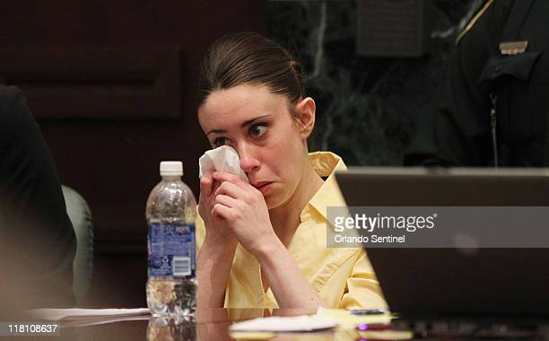 Casey Anthony cries during her defense team's closing arguments in her murder trial at the Orange County Courthouse in Orlando Florida on Sunday July...