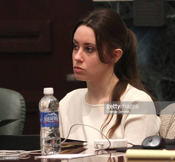 Casey Anthony listens to testimony of Catherine Theisen of FBI's Quantico lab in court during the 18th day of her firstdegree murder trial at the...
