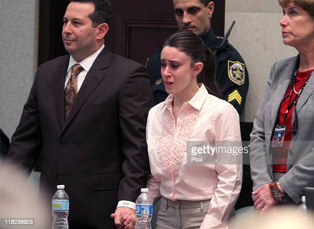 Casey Anthony reacts to being found not guilty on murder charges at the Orange County Courthouse on July 5 2011 in Orlando Florida At left is her...