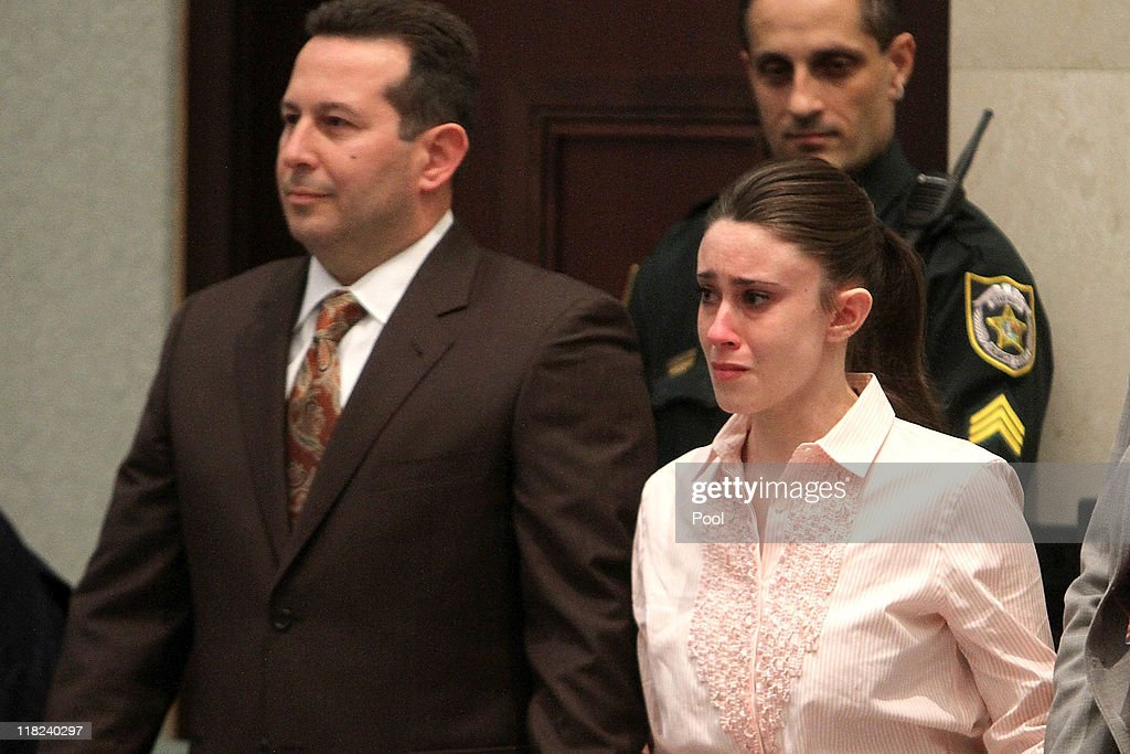 <a gi-track='captionPersonalityLinkClicked' href=/galleries/search?phrase=Casey+Anthony&family=editorial&specificpeople=7188333 ng-click='$event.stopPropagation()'>Casey Anthony</a> (R) reacts to being found not guilty on murder charges at the Orange County Courthouse on July 5, 2011 in Orlando, Florida. At left is her attorney Jose Baez. <a gi-track='captionPersonalityLinkClicked' href=/galleries/search?phrase=Casey+Anthony&family=editorial&specificpeople=7188333 ng-click='$event.stopPropagation()'>Casey Anthony</a> had been accused of murdering her two-year-old daughter Caylee in 2008.