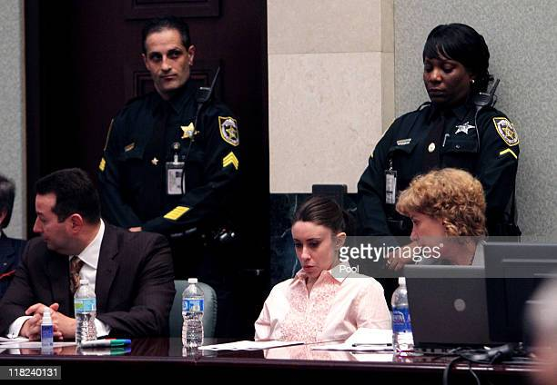Casey Anthony sits at the defense table waiting for the jury to return with the verdict in her murder trial at the Orange County Courthouse on July 5...