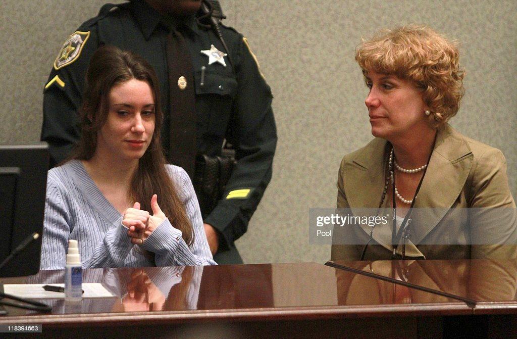 <a gi-track='captionPersonalityLinkClicked' href=/galleries/search?phrase=Casey+Anthony&family=editorial&specificpeople=7188333 ng-click='$event.stopPropagation()'>Casey Anthony</a> (L) sits with her attorney Dorothy Clay Sims during her sentencing hearing on charges of lying to a law enforcement officer at the Orange County Courthouse July 7, 2011 in Orlando, Florida. Anthony was acquitted of murder charges on July 5, 2011 but will serve four, one-year sentences on her conviction of lying to a law enforcement officer. She will be credited for the nearly three-years of time served and good behavior and will reportedly be released in late July or early August.
