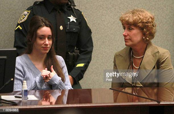 Casey Anthony sits with her attorney Dorothy Clay Sims during her sentencing hearing on charges of lying to a law enforcement officer at the Orange...