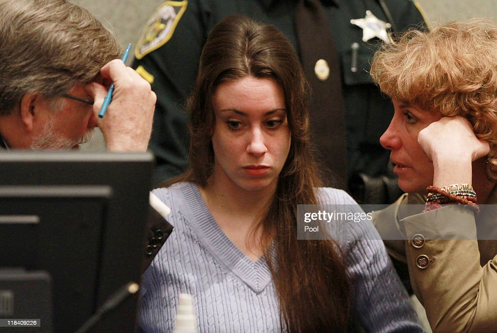 <a gi-track='captionPersonalityLinkClicked' href=/galleries/search?phrase=Casey+Anthony&family=editorial&specificpeople=7188333 ng-click='$event.stopPropagation()'>Casey Anthony</a> (C) sits with her attorneys Cheney Mason (L) and Dorothy Clay Sims (R) before the start of her sentencing hearing on charges of lying to a law enforcement officer at the Orange County Courthouse July 7, 2011 in Orlando, Florida. Anthony was acquitted of murder charges on July 5, 2011 but will serve four, one-year sentences on her conviction of lying to a law enforcement officer. She will be credited for the nearly three-years of time served and good behavior and will be released July 13.