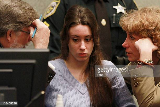 Casey Anthony sits with her attorneys Cheney Mason and Dorothy Clay Sims before the start of her sentencing hearing on charges of lying to a law...