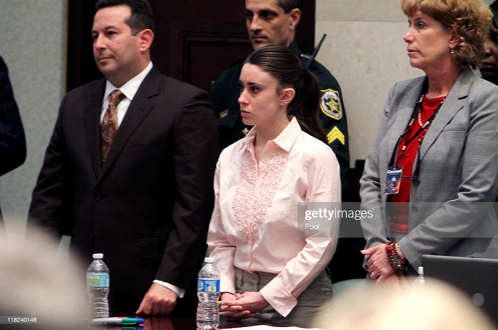 <a gi-track='captionPersonalityLinkClicked' href=/galleries/search?phrase=Casey+Anthony&family=editorial&specificpeople=7188333 ng-click='$event.stopPropagation()'>Casey Anthony</a>, with her attorneys Jose Baez (L) and Dorothy Clay Sims (R) stand before the jury presents a verdict in her murder trial at the Orange County Courthouse on July 5, 2011 in Orlando, Florida. <a gi-track='captionPersonalityLinkClicked' href=/galleries/search?phrase=Casey+Anthony&family=editorial&specificpeople=7188333 ng-click='$event.stopPropagation()'>Casey Anthony</a> had been accused of murdering her two-year-old daughter Caylee in 2008 and was found not guilty of manslaughter in the first degree..