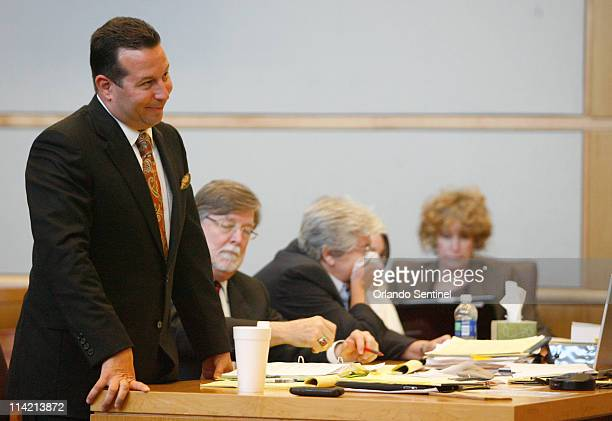 Casey Anthony's defense attorney Jose Baez reacts to comments made by ninth circuit chief judge Belvin Perry during jury selection jury selection for...