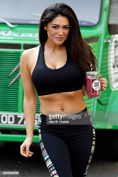 Casey Batchelor attends the launch of 'Pork Juice' in Primrose Hill on April 16 2015 in London England