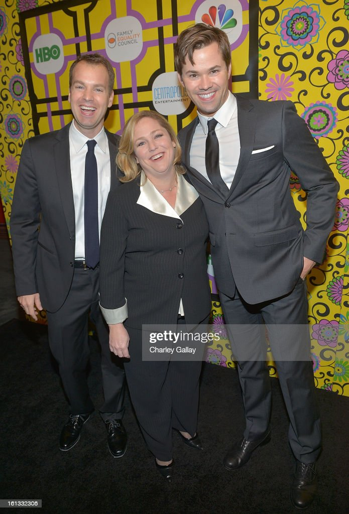 Casey Bloys, Executive Dirctor of Family Equality Council Jennifer Chrisler and actor Andrew Rannells attend the Family Equality Council LA Awards Dinner at The Globe Theatre at Universal Studios on February 9, 2013 in Universal City, California.