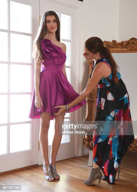 Casey Burke getting styled with a Dalia Macphee dress by Ali Levine at TAP The Artists Project Style House on October 4 2017 in Los Angeles California