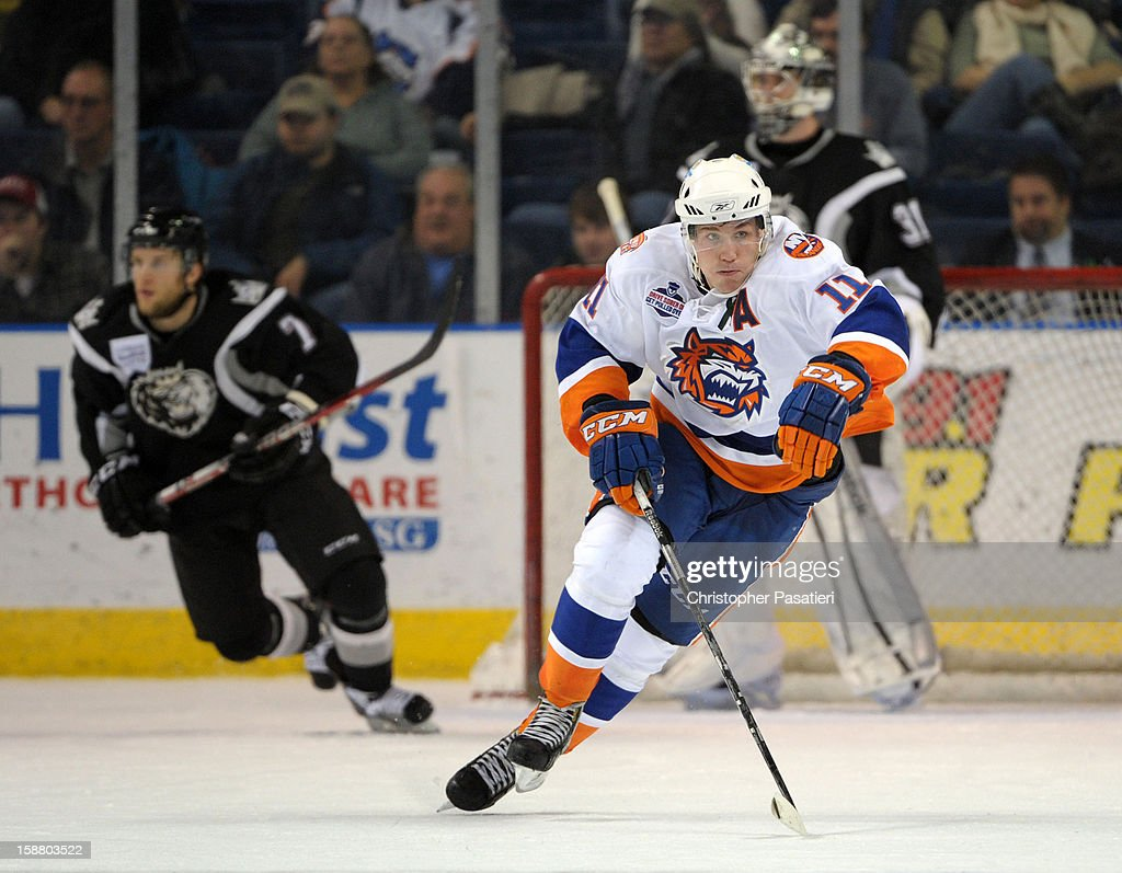 Casey Cizikas #11 of the Bridgeport Sound Tigers skates during an American Hockey League game against the Manchester Monarchs on December 29, 2012 at the Webster Bank Arena at Harbor Yard in Bridgeport, Connecticut.