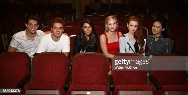 Casey Cott KJ Apa Marisol Nichols Lili Reinhart Madelaine Petsch and Camila Mendes from the cast of 'Riverdale' visits Broadway's 'Bandstand' at the...