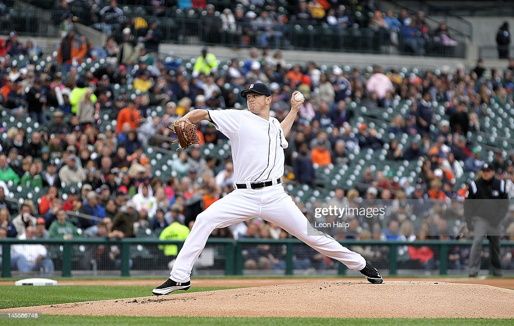 Casey Crosby #45 of the Detroit Tigers pitches in the first inning of his major league debut during the game against the New York Yakees at Comerica Park on June 1, 2012 in Detroit, Michigan. The Yankees defeated the Tigers 9-4.