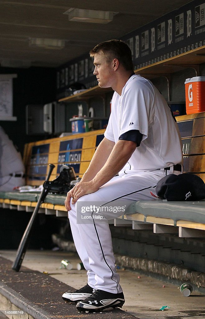 Casey Crosby #45 of the Detroit Tigers sits in the dugout after leaving the game in the fourth inning of his first major league start during the game against the New York Yakees at Comerica Park on June 1, 2012 in Detroit, Michigan. The Yankees defeated the Tigers 9-4.