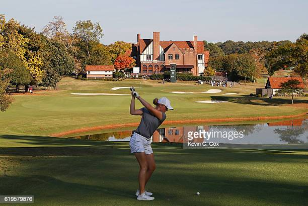 Casey Danielson of Stanford plays the 18th hole during day 1 of the 2016 East Lake Cup at East Lake Golf Club on October 31 2016 in Atlanta Georgia