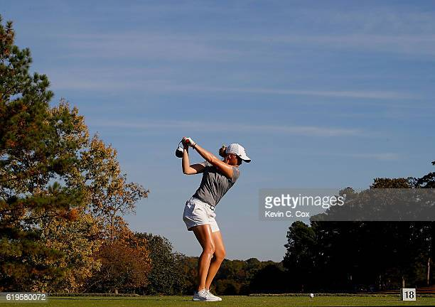 Casey Danielson of Stanford tees off the 18th hole during day 1 of the 2016 East Lake Cup at East Lake Golf Club on October 31 2016 in Atlanta Georgia