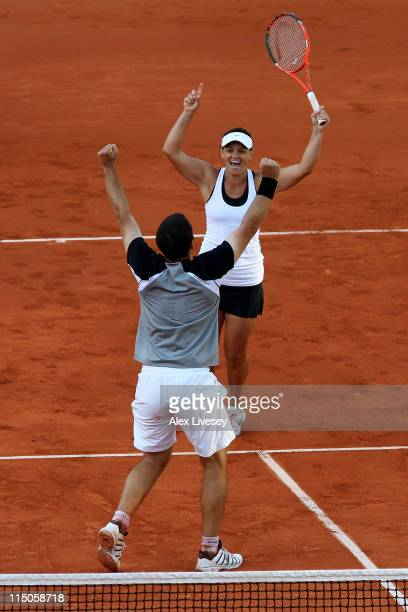 Casey Dellacqua of Australia and Scott Lipsky of USA celebrate match point during the mixed doubles final match between Katarina Srebotnik of...
