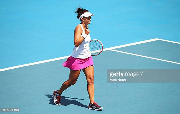 Casey Dellacqua of Australia celebrates winning her singles match against Irina Khromacheva of Russia during the Fed Cup tie between Australia and...