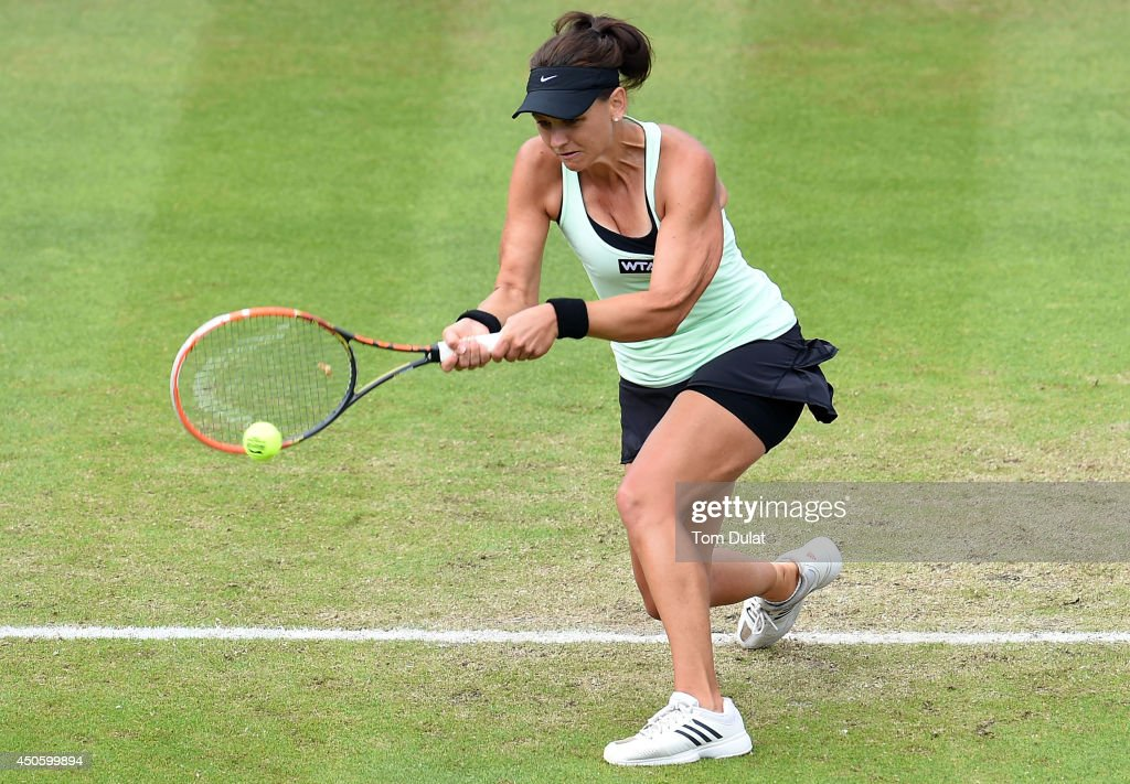Casey Dellacqua of Australia in action against Barbora Zahlavova Strycova of Czech Republic on day six of the Aegon Classic at Edgbaston Priory Club on June 13, 2014 in Birmingham, England.