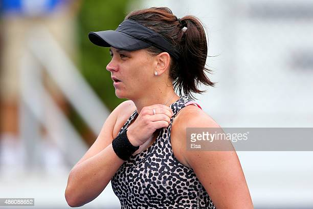 Casey Dellacqua of Australia looks on against Anett Kontaveit of Estonia during her Women's Singles First Round match during Day One of the 2015 US...