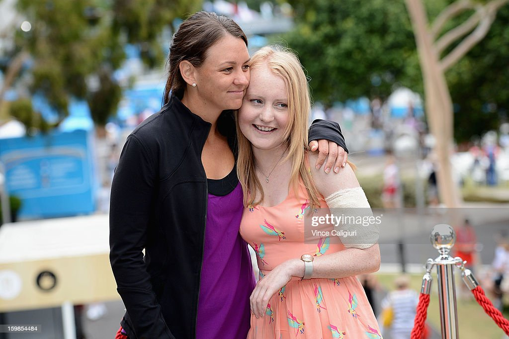 Casey Dellacqua of Australia poses with her cousin Kaila Thomas, who suffers from Cystic Fibrosis, attends the launch of Cystic Fibrosis Fundraiser on day nine of the 2013 Australian Open at Melbourne Park on January 22, 2013 in Melbourne, Australia.