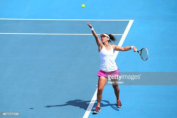 Casey Dellacqua of Australia serves in her singles match against Irina Khromacheva of Russia during the Fed Cup tie between Australia and Russia on...