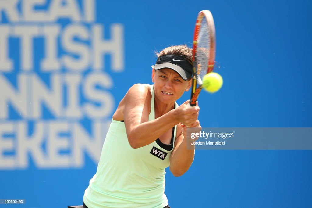 <a gi-track='captionPersonalityLinkClicked' href=/galleries/search?phrase=Casey+Dellacqua&family=editorial&specificpeople=575797 ng-click='$event.stopPropagation()'>Casey Dellacqua</a> of Austria in action during the semi-final match against Barbora Zahlavova Strycova of the Czech Republic during day six of the Aegon Classic at Edgbaston Priory Club on June 14, 2014 in Birmingham, England.