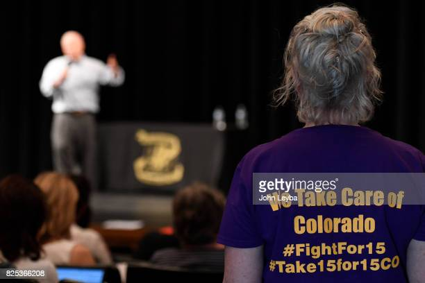 Casey DiGaetano of Aurora listens to US Rep Mike Coffman during his town hall at Prairie View High School in on August 1 2017 Henderson