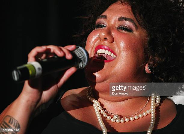 Casey Donovan performs at the launch of the OneSight inspired RayBan Indigenous Special Edition Wayfarer at Australian Museum on October 9 2014 in...