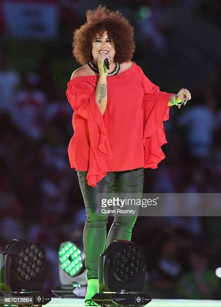 Casey Donovan performs during the 2017 Rugby League World Cup match between the Australian Kangaroos and England at AAMI Park on October 27 2017 in...