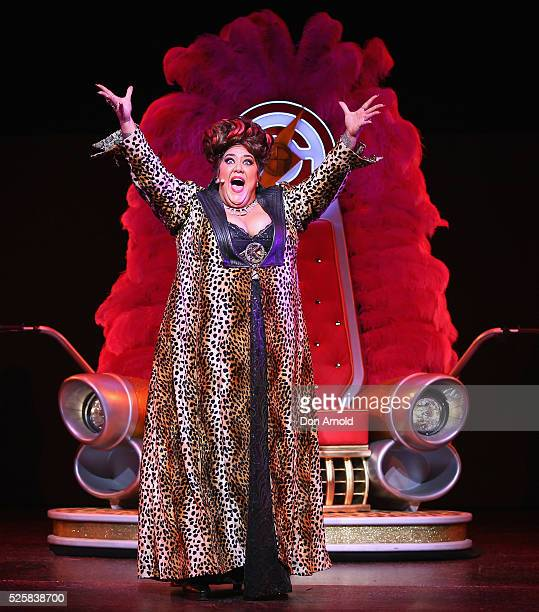 Casey Donovan plays the role of Killer Queen during the 'We Will Rock You' media call at Lyric Theatre Star City on April 29 2016 in Sydney Australia