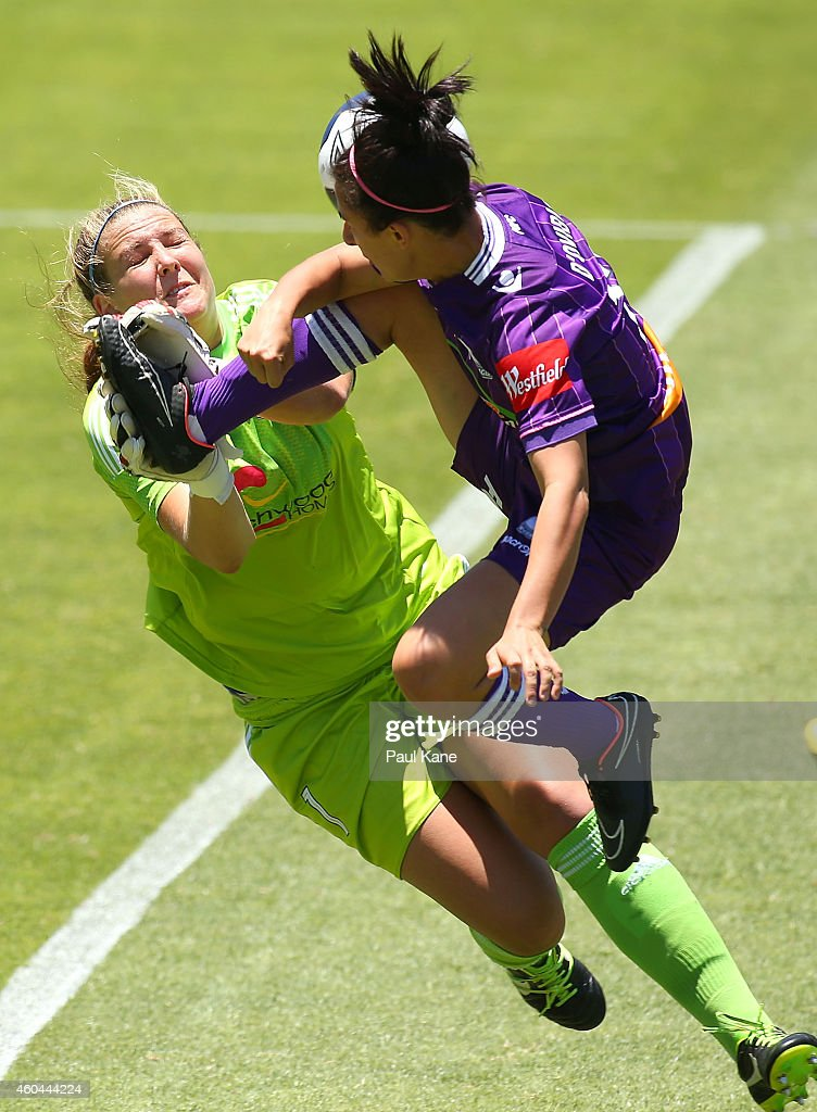 Casey Dumont of Sydney saves a shot on goal by Elisa D'Ovidio of the Glory during the WLeague semi final match between Perth Glory and Sydney FC at...