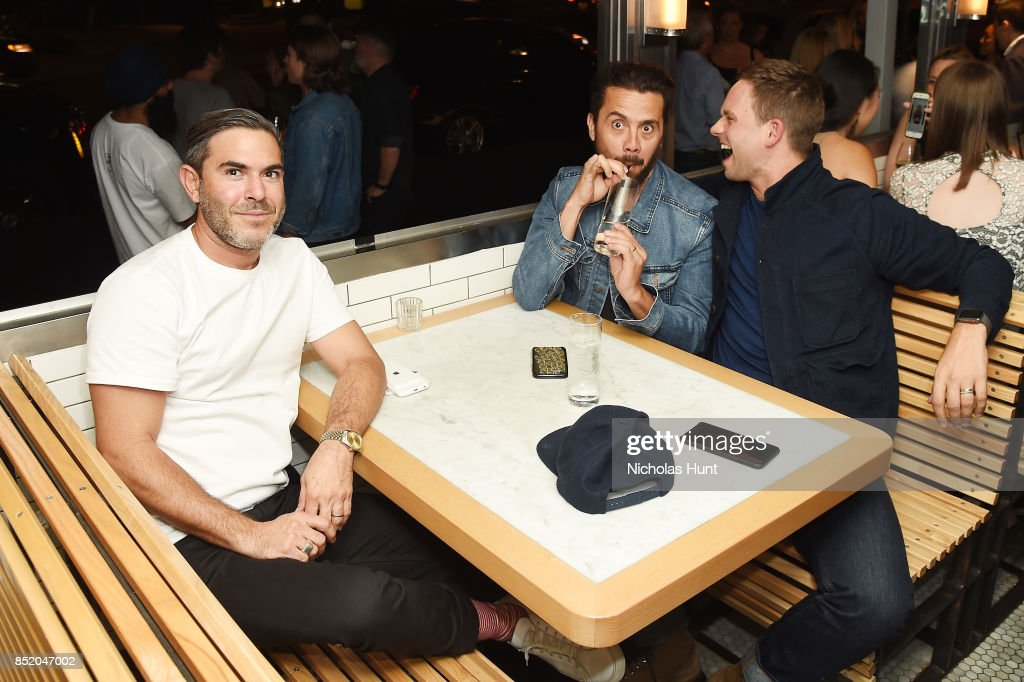 Casey Engelhardt, Mike Piscitelli and actor Patrick J Adams attend the Tribeca TV Festival welcome party hosted by AT&T at the Empire Diner on September 22, 2017 in New York City.
