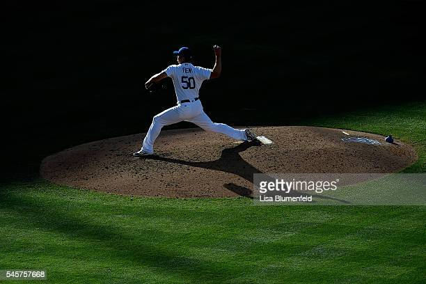 Casey Fien of the Los Angeles Dodgers pitches against the San Diego Padres at Dodger Stadium on July 9 2016 in Los Angeles California
