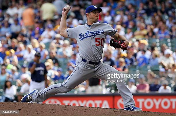 Casey Fien of the Los Angeles Dodgers pitches in the eighth inning against the Milwaukee Brewers at Miller Park on June 30 2016 in Milwaukee Wisconsin