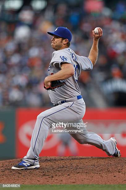 Casey Fien of the Los Angeles Dodgers pitches in the seventh inning against the San Francisco Giants at ATT Park on June 12 2016 in San Francisco...