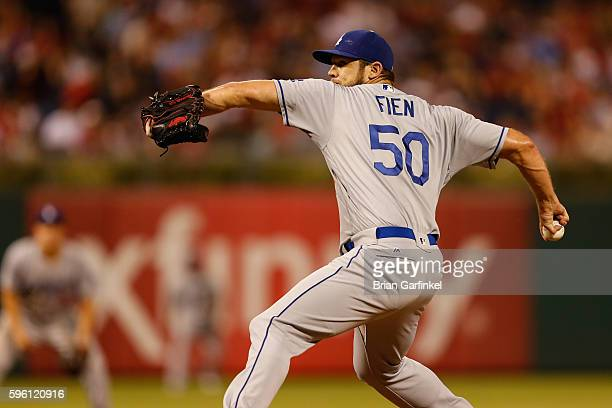 Casey Fien of the Los Angeles Dodgers throws a pitch during the game against the Philadelphia Phillies at Citizens Bank Park on August 18 2016 in...
