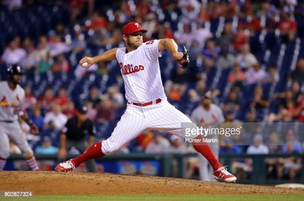 Casey Fien of the Philadelphia Phillies throws a pitch during a game against the St Louis Cardinals at Citizens Bank Park on June 20 2017 in...
