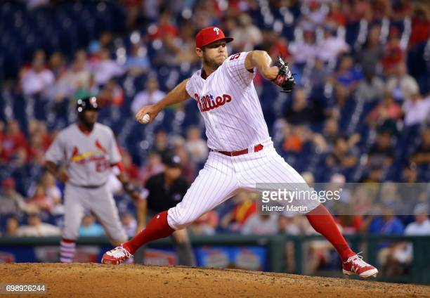 Casey Fien of the Philadelphia Phillies throws a pitch in the 11th inning during a game against the St Louis Cardinals at Citizens Bank Park on June...